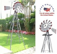 Windmill Weather Vane Garden Decor Patio Wind Mill Farm 8 FT Weather Outdoor