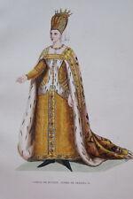 GRAVURE-ISABEAU DE BAVIERE REINE DE FRANCE-COSTUME MOYEN AGE 1847-ANTIQUE  PRINT