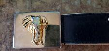 ESCADA BLACK LEATHER BELT WITH GOLD TONE ELEPHANT  SIZE 34