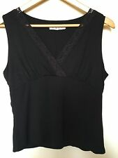 CAbi Women's Size Medium Black Sleeveless Shirt Tank Top Lace Trim