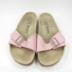 BIRKENSTOCK BETULA Pink Leather Shoes Sandals L 7 Rhinestone Buckle