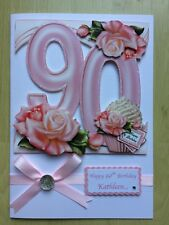 Luxury Hand-Made 90th Birthday Card-Can Be Personalised-Any Relative/Friend