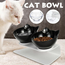 Double Bowl Black Cat Pet Food Water Feeders Dish w/ Raised Stand Black Us ).Us