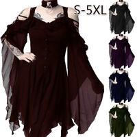 Steampunk Women Ruffle Sleeves Off Shoulder Gothic Irregular Dress Retro Costume