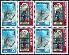 CHILE 1988 STAMP# 1296/7 MNH BLOCK OF FOUR SAILING SHIP NAVY TRADICION NAVAL