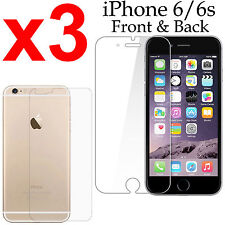 x3 Anti-scratch 4H PET film screen protector Apple iphone 6 6s front + back