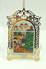 Vintage Brass Christmas Scene Ornament Holiday Tree Decoration