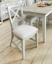 Signature Painted Grey Linen Fabric Seat Pair of Dining Chairs