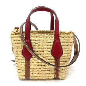 UNUSED TORY BURCH Perry Straw Nano Straw bag 2WAY mini tote Hand Bag