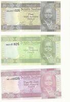 SOUTH SUDAN RARE PIASTER ERROR SET UNC BANKNOTES Identical Serial-5-10-25p