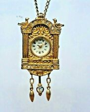 """Gold Plated Cuckoo Coo-Coo Clock Necklace Brooch Pin Pendant Watch & 26"""" Chain"""