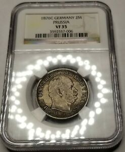 1876-C German States Prussia 2 Mark World Silver Coin NGC VF35 - Wilhelm I