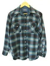 USA Pendleton Men's Shadow Plaid High Grade Western Wear L/S Wool Shirt Size M