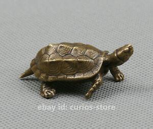 53mm Curio China Bronze Animal Shou Tortoise Longevity Turtle Small Statue 62g
