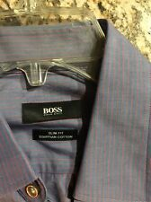 Boss Hugo Boss Blue Strip Cotton Slim Fit Long Sleeve Shirt Sz 40. 15 3/4