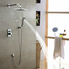 NEW Chrome Bath Rainfall Shower Faucet Set System with Hand Spray Rain Shower