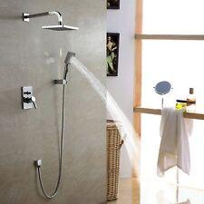 NEW Chrome Bath Rainfall Shower Faucet Set System with Hand Spray Rain Shower
