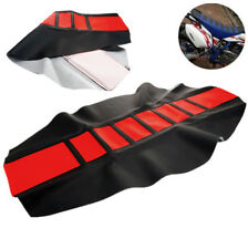 Red Soft Leather Motorcycle Seat Cover Wrap Custom For Honda CRF Yamaha WR YZF