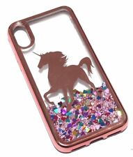 For iPhone X - Rose Gold Unicorn Pink Glitter Heart Liquid Water Skin Case Cover