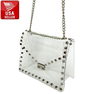 Transparent PVC Purse Clear Handbag Shoulder Bag Metal Decorations and Chain