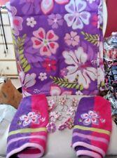 bright purple,pink, green hippie floral decorative shower curtain, towels, hooks