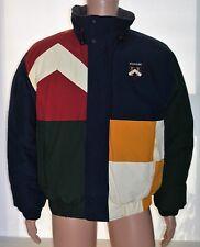 Mens Vintage Tommy Hilfiger DOWN Puffy Jacket Coat COLOR BLOCK Size Medium MINT