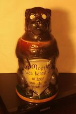 German Dog Beer Stein Antique Figural Wearing Glasses Pug Mops Mug Character