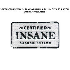 Batman THE JOKER Certified Insane Arkham Asylum IRON ON PATCH badge name tag DC