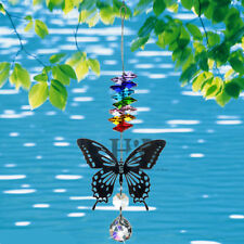 Crystal Ball Prism Rainbow Suncatcher Silver Butterfly Pendant  For Window Xmas