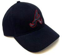 SOLID BLACK MLB ATLANTA BRAVES 3D LOGO ADJUSTABLE CURVED BILL HAT CAP RETRO NWT