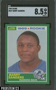 1989 Score Football #257 Barry Sanders Detroit Lions RC Rookie HOF SGC 8.5
