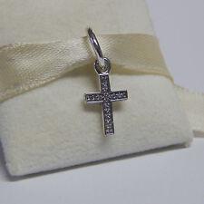 Authentic Pandora Charm Symbol of Faith Cross Dangle 791310CZ W Tag & Suede Pouc