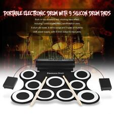 Hot Digital Electric Roll Up Drum Kit 3W Speakers W/Drumsticks Foot Pedals Y9H0