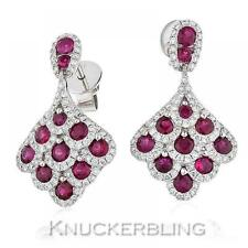 Butterfly 18 Carat Ruby White Gold Fine Earrings