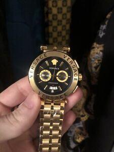 versace chronograph watch Gold Bezel Black Face