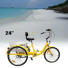 "24"" Adult Tricycle 3-Wheel 6 Speed Bicycle Trike Cruiser Basket w/ Cable Lock"