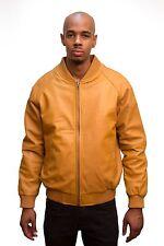 Jakewood Men's Cognac Brown Genuine Lambskin Leather Baseball Jacket, Size 5XL