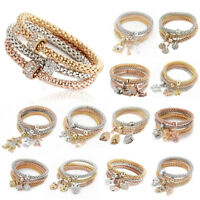 3Pcs Fashion Women Gold Silver Rose Gold Bracelets Set Rhinestone Bangle Jewelry