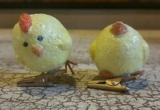 "PAIR OF YELLOW 2"" CHICK FIGURINES COUNTRY FOLK ART STYLE ON CLIPS"