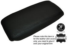 BLACK STICH NON SLIDING ARMREST LID LEATHER SKIN COVER FITS JAGUAR X-TYPE 01-09