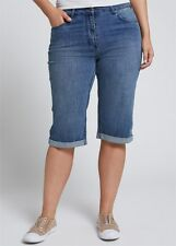 Plus Size Stretchy Denim Blue Boyfriend Shorts -Knee Length Size 20 RRP $99.95