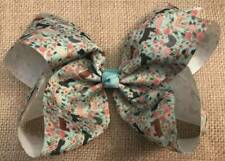Farm Floral Print Hair Bow 6""