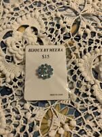 Bijoux By Meera Blue/Silver Rhinestone Brooch NEW