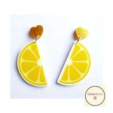 Lemons Dangle Drop Stud Earrings 🍋glitter Heart🍋quirky🍋