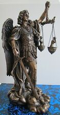 Angel Statue Saint Michael Archangel weighing Souls in Scales Figure #WU75218A4