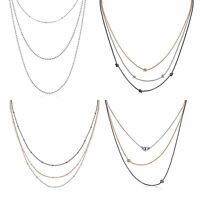 Amberta 925 Sterling Silver Adjustable Multi Layered Chain Necklace for Women