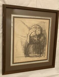 """Kathe Kollwitz framed print """"Farewell"""" study for """"Death, Mother, and Child"""""""