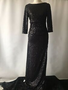 Fenn Wright Manson Dress Cocktail Gown Black Sequin Special Occasion UK 10