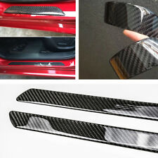 2x 48.5CM Auto Car Real Carbon Fiber Threshold Door Sill Protector Anti-scratch