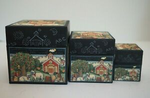 3 Pieces School Days Fall Apples Gift Nesting Boxes BOB's Artist Susan Wright